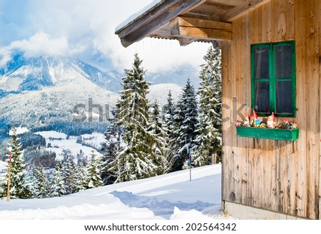 Wood Chalet Typical Austrian Decoration Over Stock Photo (Royalty ...