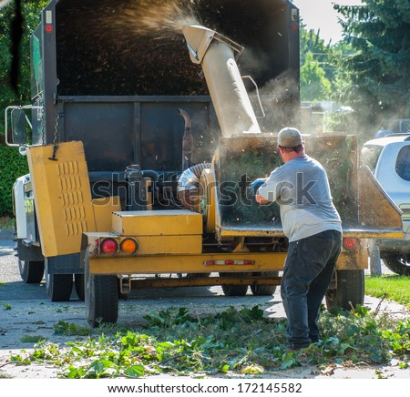 Wood Chipper Shredding a Tree into a Truck - stock photo