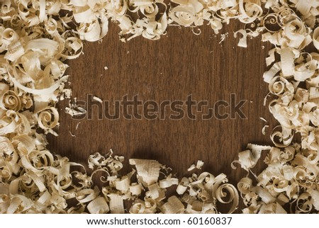 Wood chips and sawdust texture, with copy space - stock photo