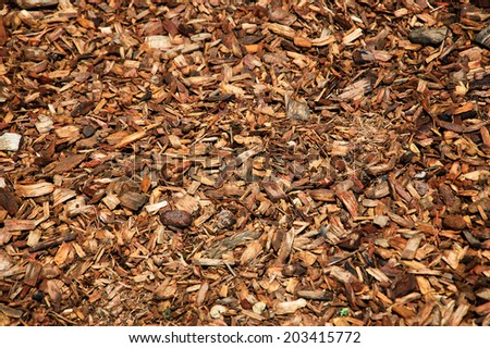Wood chips for landscaping in the gardens. Ecological background.