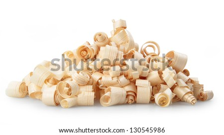 Wood chips isolated on white background - stock photo
