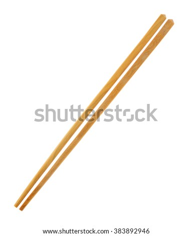 Wood chopsticks on a white background