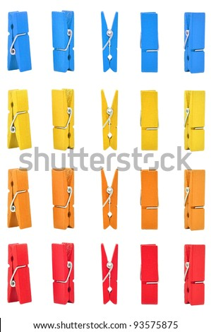 wood clothes pin colors with Path - stock photo
