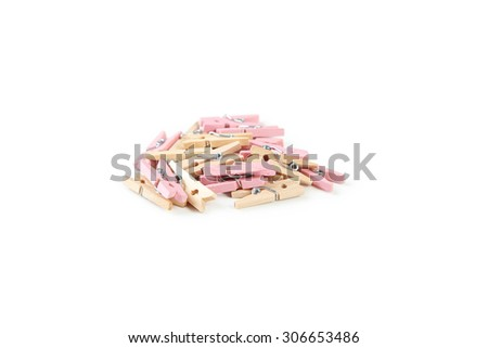 Wood clothespins isolated on white - stock photo