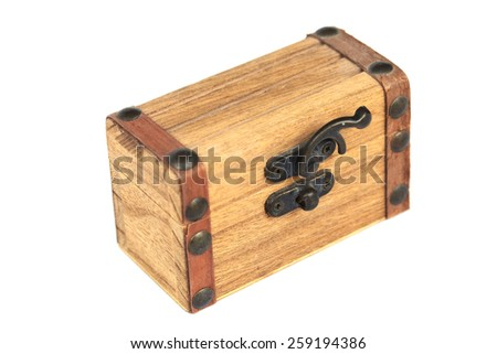 Wood coffer with metal lock isolated on white. - stock photo