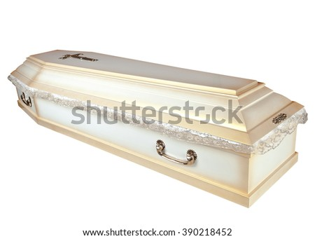 wood Coffin on the white background - stock photo