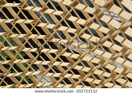 Wood Construction with Environmentally Sustainable Materials  - stock photo