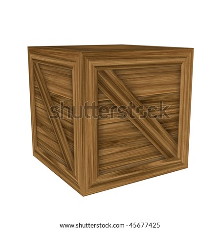 Wood crate or cube with crossbar isolated on white.