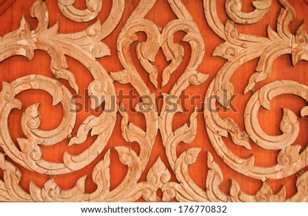 wood craving,Thailand motifs - stock photo