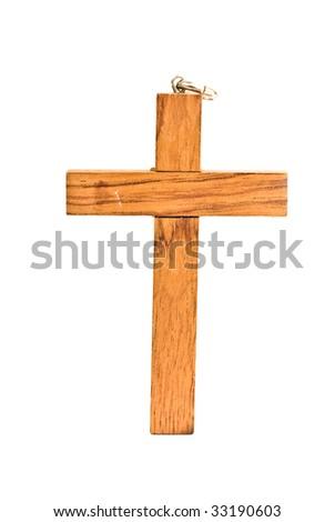wood cross isolated - stock photo