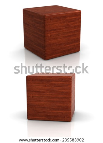 wood cube in two perspectives on white background. - stock photo