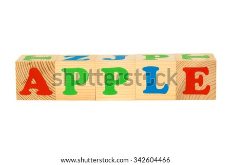 Wood cube with inscription APPLE isolated on a white background