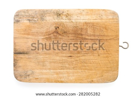 Wood cutting board isolated on white background - stock photo