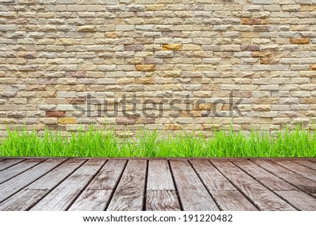 wood decking and Stone wall pattern - stock photo