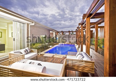 House Under Pool backyard pool stock images, royalty-free images & vectors