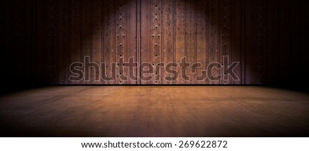 Wood door and cement floor background - stock photo