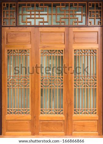 Wood door Chinese Style - stock photo