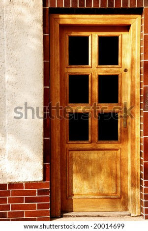 wood door of a residential house
