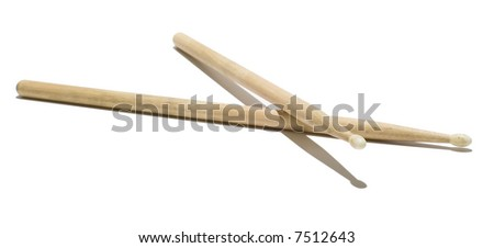 Wood Drumsticks - Isolated White - stock photo