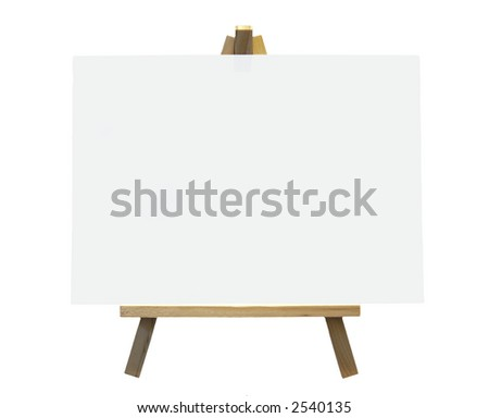 Wood Easel With White Canvas On A White Background, Isolated - stock photo
