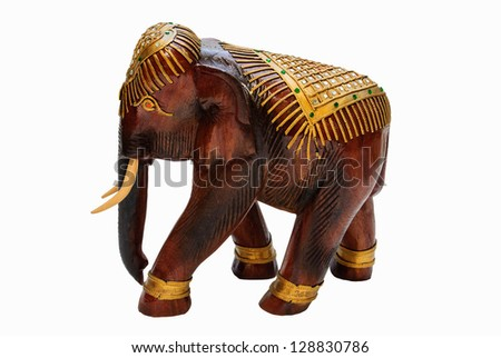 wood elephant carves the art Thai and white background - stock photo