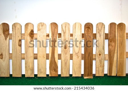 Wood Fence on wall. - stock photo