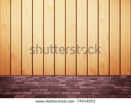 Wood fence with brick foot path - stock photo