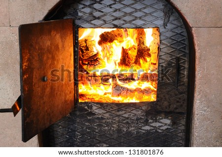 Wood fire in an stone stove