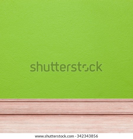 wood floor on green wall , beautiful background