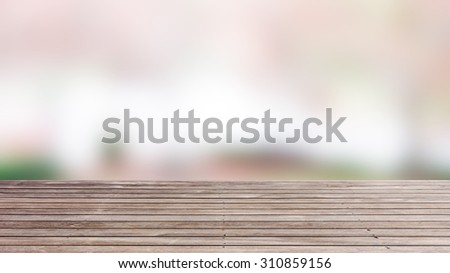 wood floor texture with blured background - stock photo