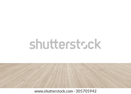 Wood floor textured pattern background in light antique creme brown color tone with empty white wall backdrop: Isolated wooden floor on white colour toned background   - stock photo