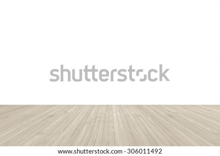 Wood floor textured pattern background in light sepia cream beige brown color tone with empty white wall backdrop: Isolated wooden floor on white colour toned background  - stock photo