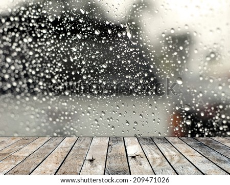 Wood floor with rainy drop on the mirror background - stock photo