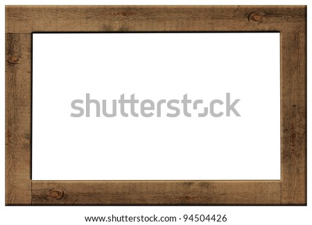 Wood frame isolated on white - stock photo
