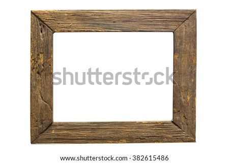 wood frame isolated on white background with clipping path - stock photo