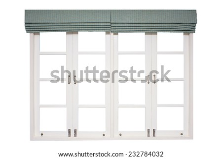 Wood frame windows with curtains - stock photo