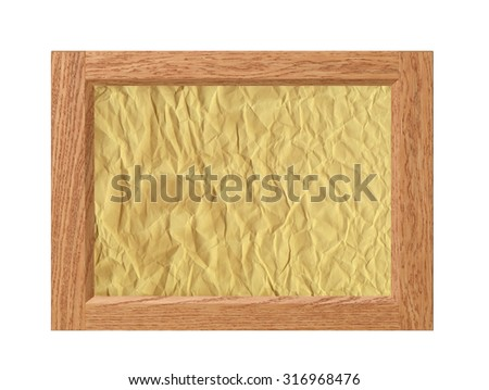 Wood frame with crumpled paper isolated on white background - stock photo