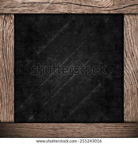 wood frame with dark paper - stock photo