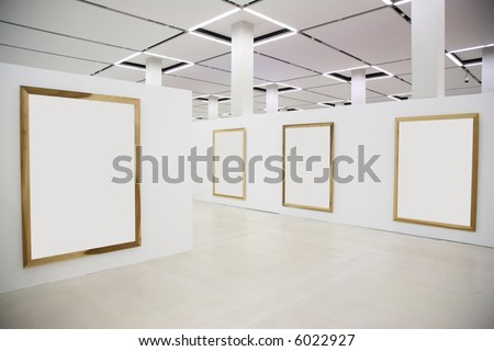 wood frames on the white wall - stock photo