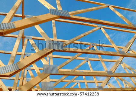 Wood framing on a new house under construction