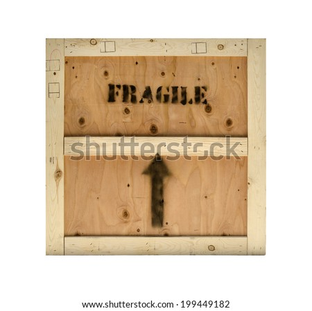 Wood freight crate with fragile and arrow stamp - stock photo
