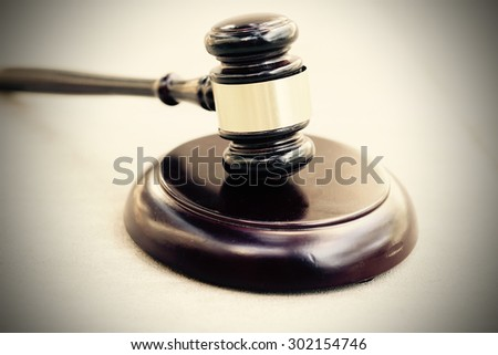 Wood gavel and block - stock photo
