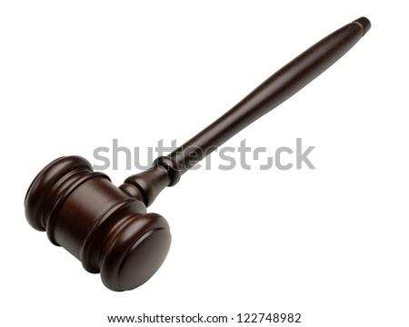 Wood gavel isolated on white background - stock photo