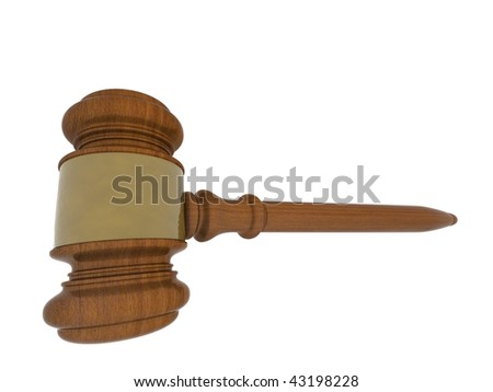 Wood gavel on white background. High resolution image.
