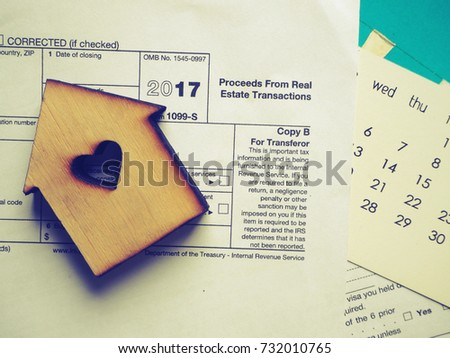 Wood House Model On Tax Form Stock Photo 732010765 Shutterstock