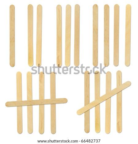 wood ice-cream stick isolated on white background - stock photo
