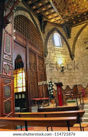 "wood interior church in ""Buitrago de Lozoya"" spain - stock photo"