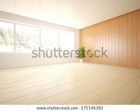 wood interior design of modern house -3d rendering - stock photo