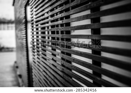 Wood lath on Black and white background