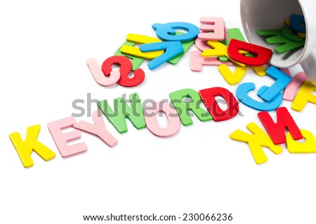Wood letters spill out of the cup as Keyword topic - stock photo